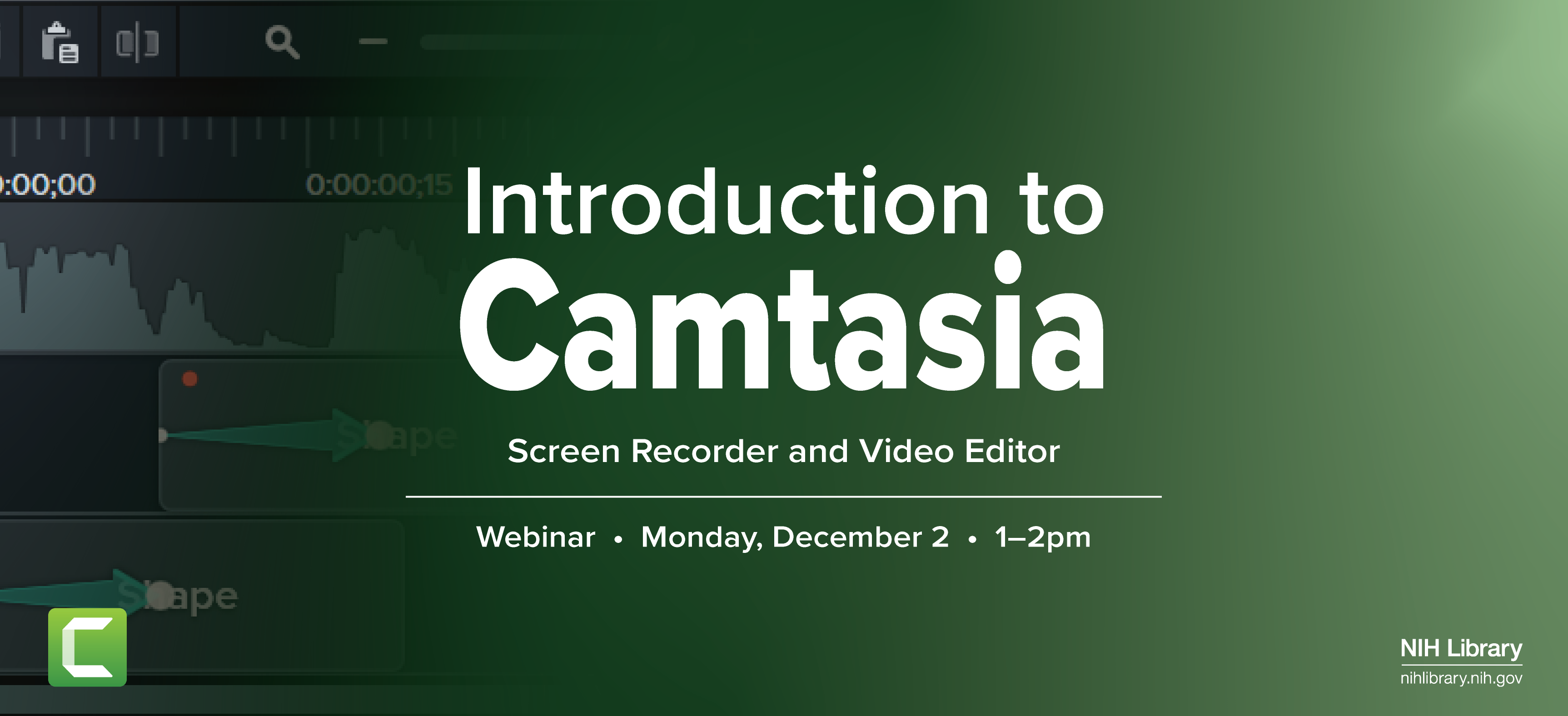 Introduction to Camtasia Webinar, December 2 at 1 p.m.