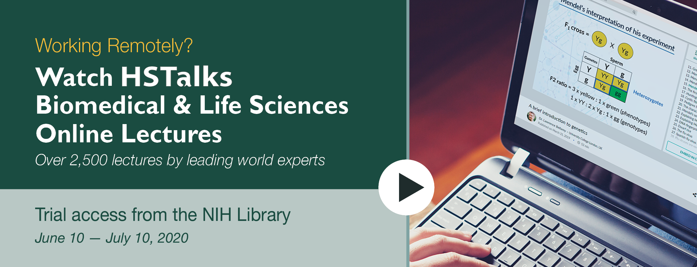Working Remotely? View HSTalks Biomedical and Life Sciences Online Lectures (Trial Access)